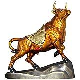 Escultura decorativa moderna Una estatua pura de toro de cobre con un pedestal,...