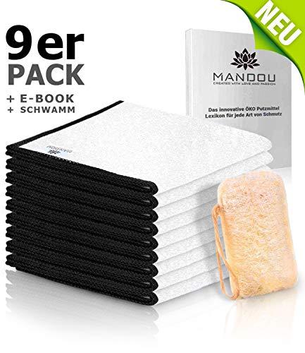 MANDOU 💮 9x Hochqualitative Putztücher aus 100% Bambus ohne Mikrofaser für Küche & Haushalt - Allzwecktücher für Hochglanz Küchen, Spiegel, Bad, Auto - Tücher ohne Microfaser 💮