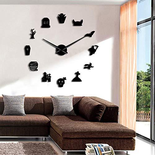 YQMJLF Reloj Pared DIY 3D Grande Halloween DIY Reloj Pared Grande Diseño Moderno Icono sin Marco Reloj Pared Arte del hogar Reloj con Etiqueta Espejo Grande 3D Decor Navidad Regalo Negro
