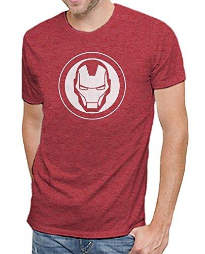 Marvel Iron Man Logo Men's Soft Red Heather T-Shirt (M)