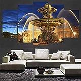 Non-tissé photo moderne toile 5 pièces architecture paysage décoration salon mur art peinture abstraite-a-frame-C: 40x60cmx2 40x80cmx2 40x100cmx1 Peinture à l'huile, peinture murale, murale, papier pe