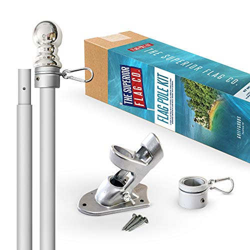 Heavy-Duty 6 Ft Flag Pole Kit with Silver Ball Topper, Aluminum Tangle-Free Spinning Rings and Bracket: Wind Resistant and Rust-Free 1in Diameter Flagpole Set for House, Porch, or Business