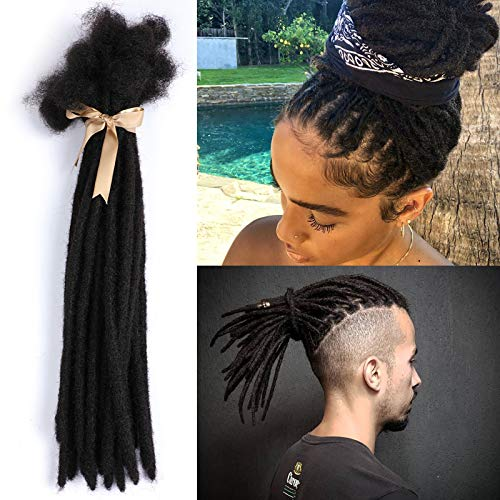 ALIMICE Jet Black Human Hair Dreadlock Extensions 8 Inches 30 Locs/Strands 0.8-1cm Width Human Hair Loc Extension Permanent Dread Extensions for Women, Men (Nature Black, 8 INCH)
