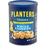 PLANTERS Deluxe Lightly Salted Whole Cashews, 1 lb 2.25 Oz (18.25 Oz) Resealable Canister - Lightly Salted Cashews & Lightly Salted Nuts - Nutrient Dense Snacks for Adults & Kids -Vegan Snacks, Kosher
