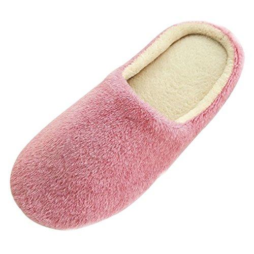 SAGUARO Erwachsene Plüsch Hausschuhe Winter Wärme Indoor Pantoffeln Home rutschfeste Weiche Leicht Baumwolle Slippers für Herren Damen, 41/42 EU=42/43 CN Pink