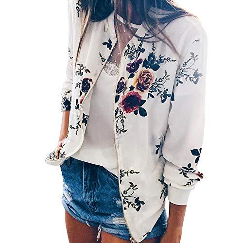 iHENGH Damen Herbst Winter Bequem Lässig Mode Frauen Retro Floral Zipper Up Bomberjacke Mantel Outwear(Weiß, L)