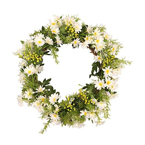 Ghirlande per porta d'ingresso - gialla margherita rosa peonia ghirlanda artificiale fiore patriottico americano porta corona con foglie verdi primavera corona