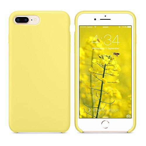 SURPHY iPhone 8 Plus Hülle Silikon, iPhone 7 Plus Hülle, Schutzschale vor Stürzen und Stößen Silikon Handyhülle für iPhone 8 Plus (2017) iPhone 7 Plus (2016), Schutzhülle 5,5 Zoll, Zitronengelb