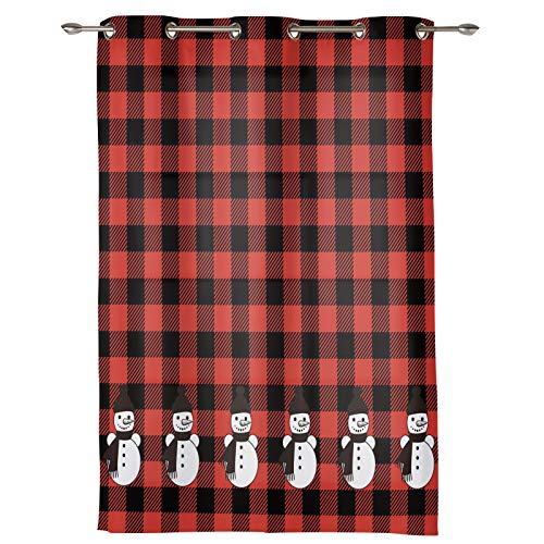 SunShine Day Blackout Curtains 72Inches Long, Cute Snowman Line Panel Door Curtains Soft Window Treatment for Bedroom/Living Room Christmas Black Red Checkered 52'' x 72''