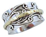 Energy Stone Radha Sterling Silver Meditation Spinner Ring with Brass Spinner on 3D