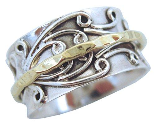 Energy Stone Radha Ring floral Gemustert aus Sterlingsilber mit Messing Drehring (Style UK05)