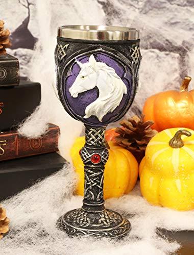 Ebros Vial Of Everlasting Life Rare White Unicorn Wine Chalice Alcoholic Beverage Drink Goblet Cup 7.5'H Ancient Mystical Mythical Legendary Animal Unicorns Unicornio Celtic Tribal Tattoo Knotwork Art