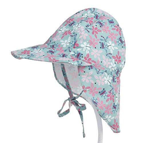 Boomly Baby Kinder Sonnenhut mit Nackenschutz UV50 + Sommer Fischermütze Strand Hüte Faltbare Strandkappe mit Kinnriemen Schnelltrocknen Outdoor Kappe