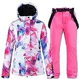 JJZZ Ropa de esquí Colorido Traje De Nieve Ropa De Mujer Ropa De Snowboard Invierno Impermeable Espesar Disfraces Chaqueta De Esquí Al Aire Libre + Baberos De Nieve Pantalones