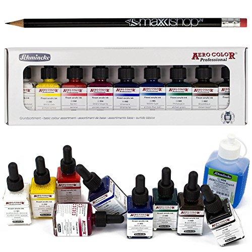 Airbrush Farben-Set Schmincke Aero Color Professional & Reinigungsmittel