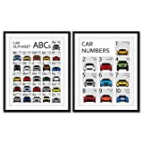 Poster Inspired by Car Nursery ABC Poster Alphabet Chart and 123 Numbers Poster Print Wall Art Set for...