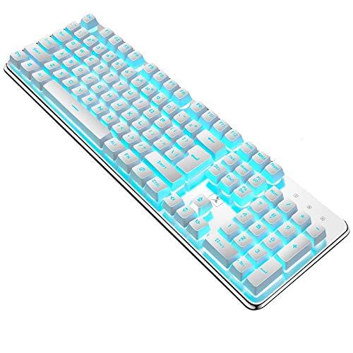 Gaming Tastatur Englisch mit Kabel USB. wasserdicht-ergonomisch, Keyboard Tastatur für PC Xbox one X PS4 Tastatur,LED Hintergrundbeleuchtung für Desktop,Windows 104 Tasten (White-Green Tastatur)