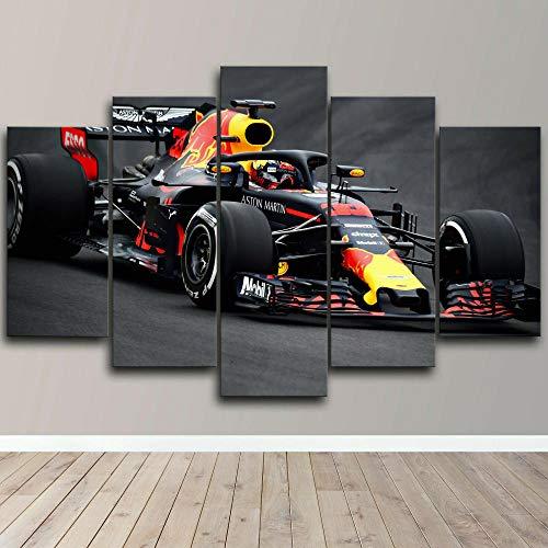 yuanjun Puzzle 5 TLG Kunstdruck Modern Wandbilder Design Tapete Eingerahmt Bilder Drucke Leinwand Wandkunst Wohnkultur Gem?Lde Poster Mehrteilig XXL Max Verstappen F1 Red Bull Racing