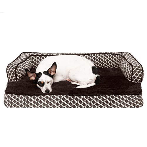 Furhaven Pet Dog Bed - Orthopedic Plush Faux Fur and Décor Comfy Couch Traditional Sofa-Style Living Room Couch Pet Bed with Removable Cover for Dogs and Cats, Diamond Brown, Medium