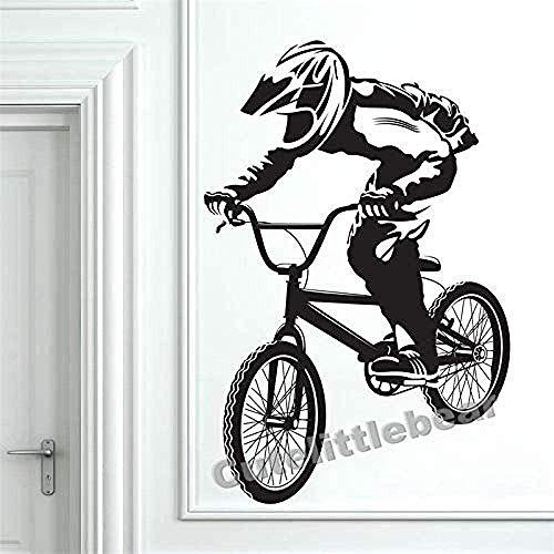 Adhesivos De Pared Para Habitaciones De Niños Decoración Bicicleta Bmx Tatuajes De Pared S Dormitorio Adhesivo Extraíble Vinilo Adhesivo Mural De Arte 56X85Cm