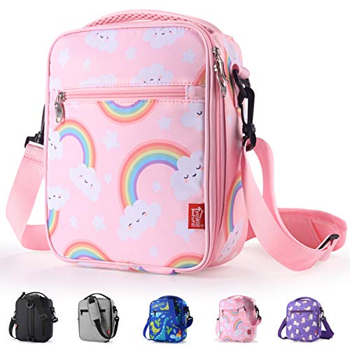Kids Lunch box Insulated Soft lunch Bag Mini Cooler Thermal Meal Tote Kit with Handle and Pocket for Girls Cute Rainbow Pink Practical Gift Idea