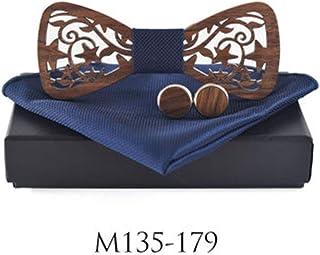 Herren Fliege 3d Gepr/ägte H/ölzerne Fliege Handgefertigte Holzfliege Schleife hohle Holz Bogen gebunden Pre gebunden mit Einstecktuch und Manschettenkn/öpfe Set f/ür Hochzeiten Partei zum Anzug