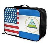 Qurbet Bolsas de Viaje, American Nicaragua Flag Overnight Carry On Luggage Waterproof Fashion Travel Bag Lightweight Suitcases