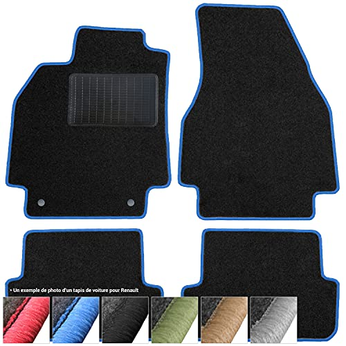 moto-MOLTICO Tapis de Voiture en Moquette - 4 pièces - Tapis de Sol antidérapant pour Automobile - Adapte pour: Renault Clio IV 2012-2020 - Bleu
