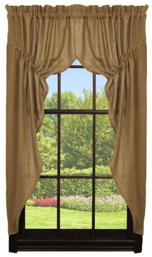 Olivia's Heartland Deluxe Burlap Natural Tan Prairie Curtain