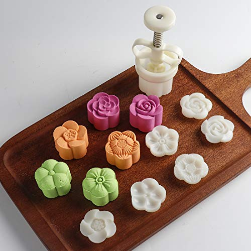 Dltsli Moon Cake Mold Chinese Mid-Autumn Festival Cookie Stamp Set, Thickness Adjustable 50g 6 Stamps Mooncake Shortbread Press DIY Decoration Hand Cutter Cake Mold