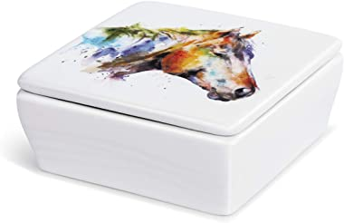 DEMDACO Dean Crouser Good Lookin Horse Watercolor 4 x 4 Ceramic Stoneware Lidded Vanity Box