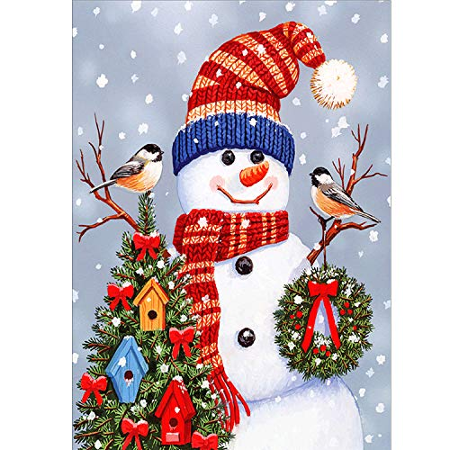 AmzKoi Diamond Painting Muñeco de Nieve de Navidad, 5D Punto de Cruz Diamante, Diamond Painting Kit 5D, Pintura Diamante para Decoración de la pared del Hogar 30 x 40 cm