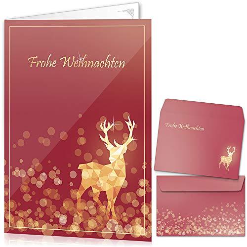 beriluDesign® Weihnachtskarten mit Umschlägen (15er Set) - Klappkarten mit Rentier-Motiv in Rot für die schönsten Weihnachtsgrüße - Frohe Weihnachten
