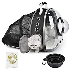 Cat Backpack Expandable,Bubble Cat Carrier Backpack with Fan & Bowl,Space Capsule Pet Carrier for Small Dog, Portable Airline-Approved Puppy Rabbit Carrying Bag for Hiking Traveling Outdoors