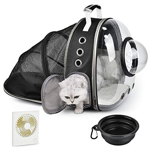 Cat Backpack Expandable with Fan & Bowl,Bubble Cat Carrier Backpack,Space Capsule Pet Carrier for Small Dog, Portable Airline-Approved Puppy Rabbit Carrying Bag for Hiking Traveling Outdoors