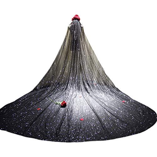 MENGLAJG Damen-Schleier aus Netzgewebe, besonders lang, romantisch, luxuriös, schimmernd, Sternenhimmel, Pailletten, heiß, Stempelzubehör, Brautschmuck Einheitsgröße 2