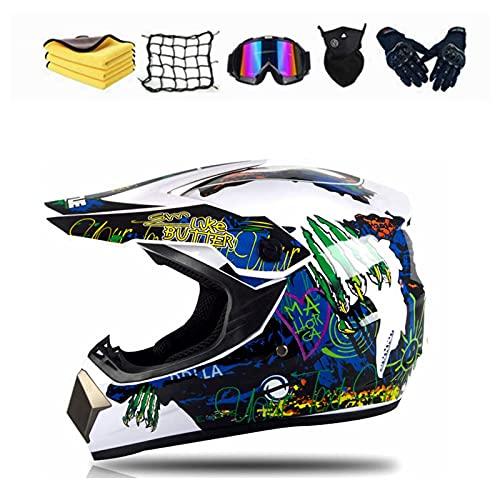 Casco de motocross, accesorios para casco de motocross Downhill con gafas, máscara, guantes y ganchos para casco, para bicicleta de montaña, ciclomotor, seguridad deportiva (A,XL (60-61 cm)…