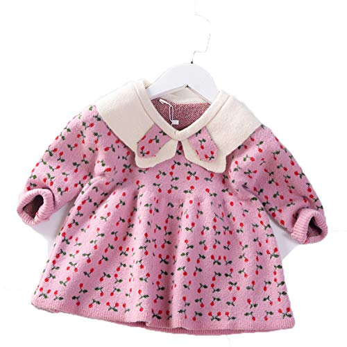 Winter New Girls Sweater Dress Kids Baby Sweater Children Clothing Mink Velvet Knitted Skirt Jumper Pullover 1-5Y Pink 2T
