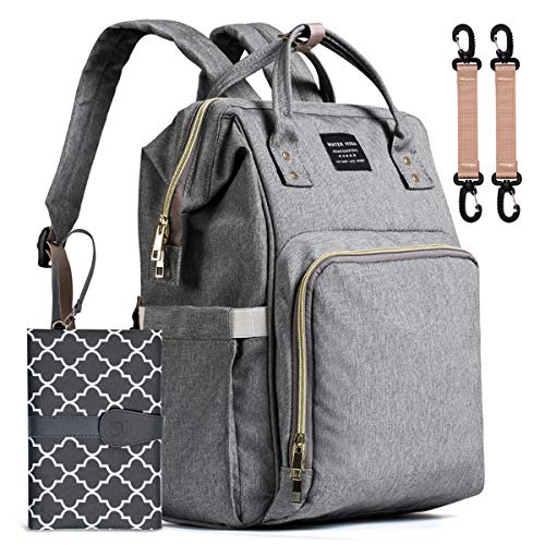 Baby Nappy Changing Bag, WaterHigh Diaper Bag Rucksack Travel Backpack with Changing Mat Portable (Grey)