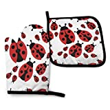 Oven Mitt and Pot Holders, 2 Piece Set, Cartoon Red Ladybug Cotton Lining Non-Slip BBQ Gloves