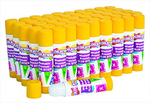 Colorations GLUSTICK Washable Premium Glue Stick (Pack of 50),White