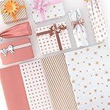 Larcenciel 120 Fogli di Carta Velina, Carta Velina Metallica Carta da Imballaggio Regalo in Oro Rosa Carta Artigianale, Materiale per la Confezione Regalo per Matrimoni, Baby Shower, 50 x 35 cm