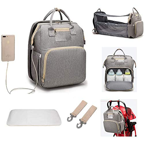 Baby Bottles Diaper Backpacks, Mommy Baby Bag, Waterproof Oxford Style Large Capacity Diaper Bag, with Portable Changing Table and 2 Pieces Baby Carriage Hooks (Color : Gray)