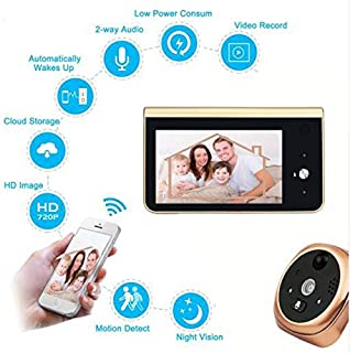 WANGOFUN Video Doorbell, 4.3 Inch Digital Peephole Door Camera Viewer HD Smart Monitor with Night Vision PIR Motion Detection 166 Degree Wide Angle for Home Security