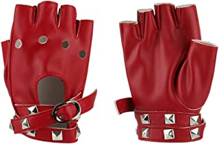 Women Punk Rock Half Finger Gothic Gloves Cosplay Costume Rivets Studded Biker Driving Leather Fingerless Gloves Accessory