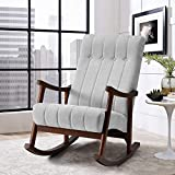 AVAWING Upholstered Rocking Chair with Fabric Padded Seat,Comfortable Rocker...