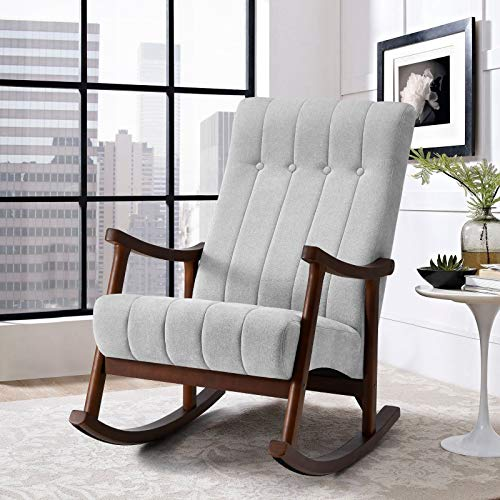 AVAWING Upholstered Rocking Chair with Fabric Padded Seat,Comfortable Rocker Solid Wood for Living Room,Modern High Back Armchair,Adult Single Sofa,Old Man Chair (Grey)