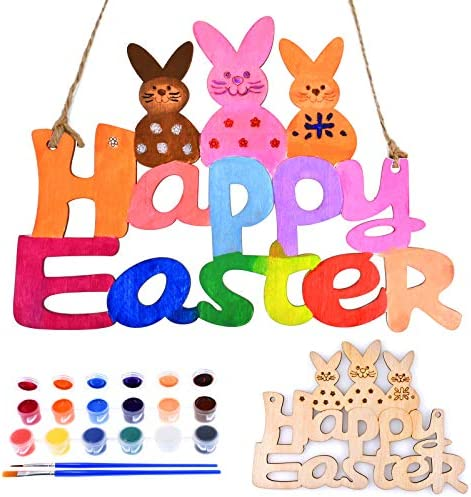 Chenmay Easter Craft Paint Wooden Ornaments Unfinished Natural Wood Arts Crafts Hanging Easter product image