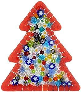 Murano Millefiori - Escultura de árbol de Navidad (cristal), color rojo