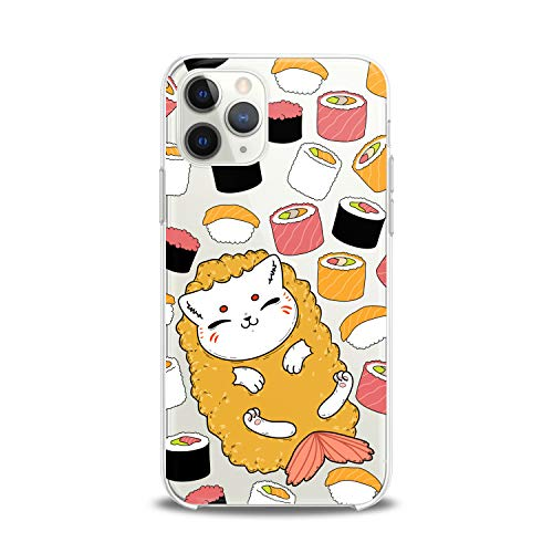 Lex Altern Case Compatible with iPhone 12 Mini 5G 11 Pro Xs Max Xr 8 X 7 Plus 6 SE 5 Food Clear Kawaii Cat Design Print Kids Girls Fish Art Women Lightweight Cover Slim fit Smooth Soft Sushi Pattern